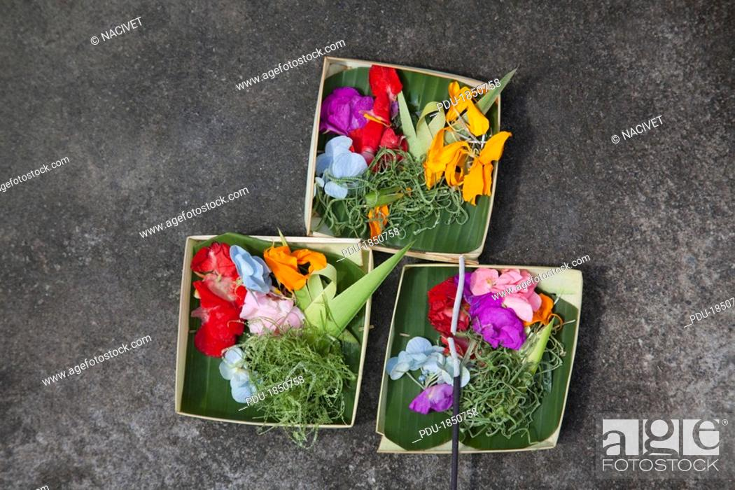 Stock Photo: Floral prayer offering, close-up.