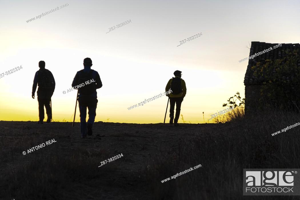 Stock Photo: Silhouettes of hikers. Sierra del Caroche. Quesa. Valencia.