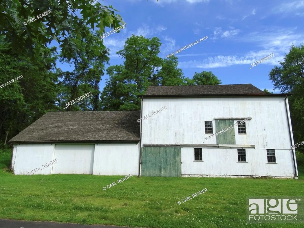 Stock Photo: An old white barn, Pennsylvania, USA.
