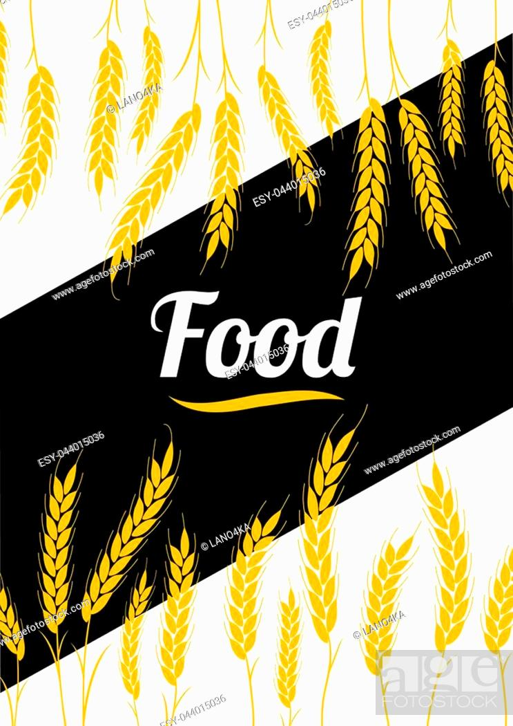 Stock Vector: Design headline Gold Wheat Ears on white and black background. For Natural Product Company. Organic wheat, bread agriculture.