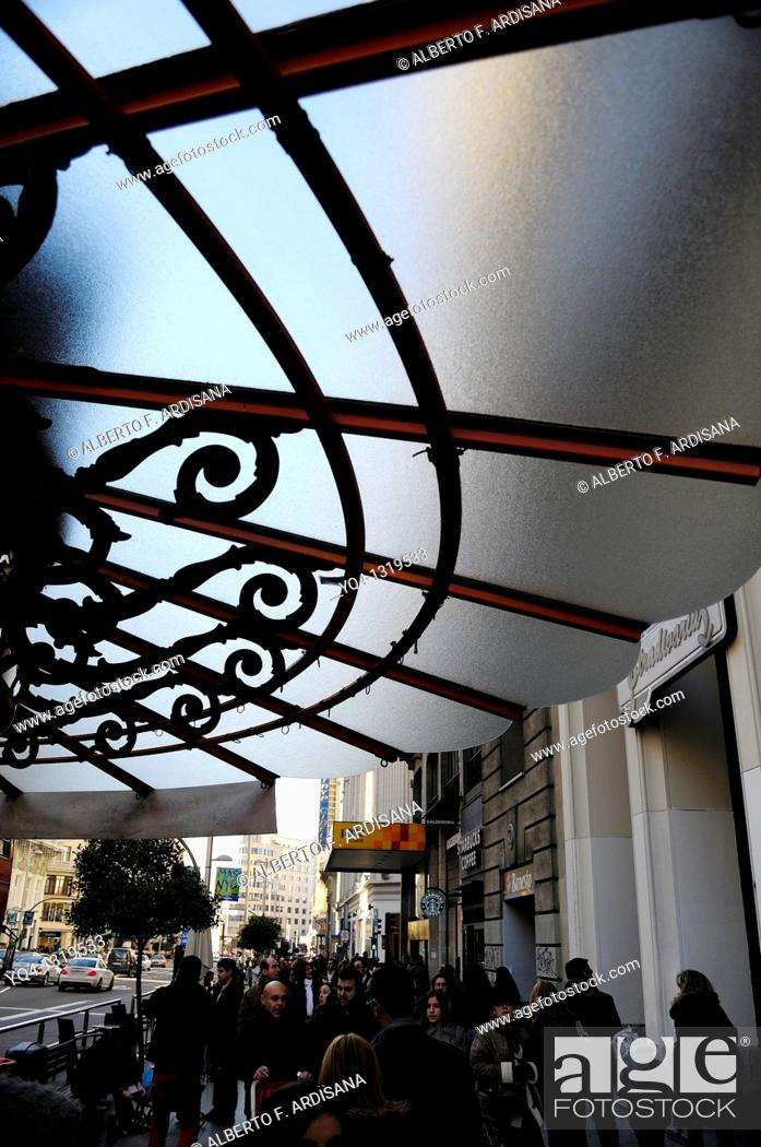 Stock Photo: Detail of the roof of a newstand in the Gran Via in Madrid, Spain.