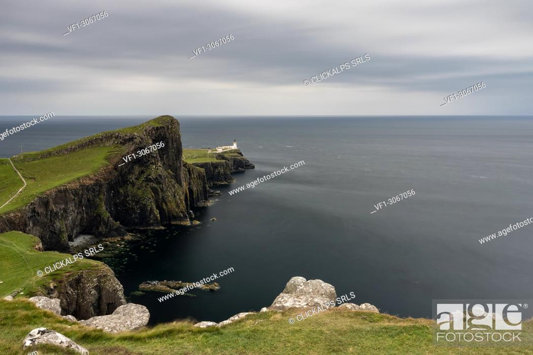 Stock Photo: cloudy day at Neist Point Lighthouse, Isle of Skye, Inner hebrides, Scotland, Europe.