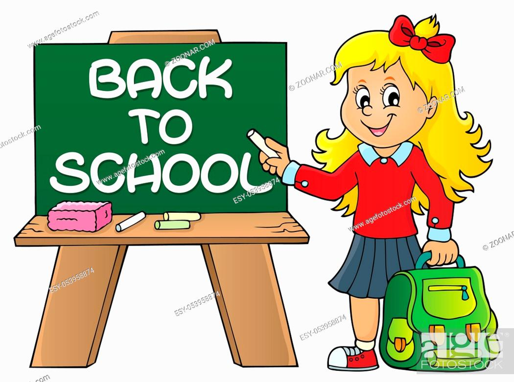 Stock Photo: Happy pupil girl theme image 9 - picture illustration.