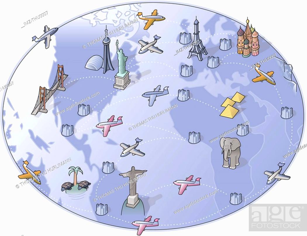 Stock Photo: A drawing of airplanes flying around the world.