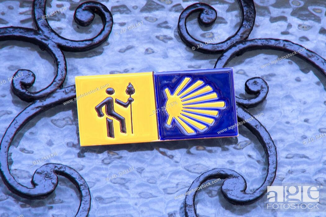 Stock Photo: Guest house for pilgrims sign, Way of St James, Montréal, Gers, Midi-Pyrenees, France.