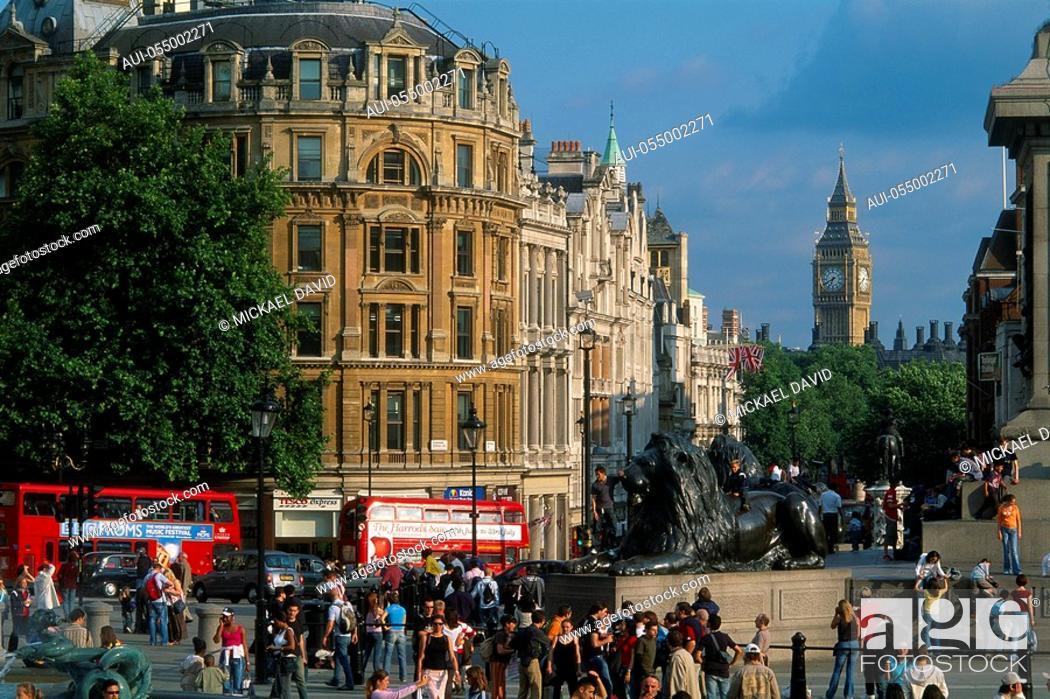 Stock Photo: England - London - St James district - Trafalgar Suqare - Whitehall and Public Garden.