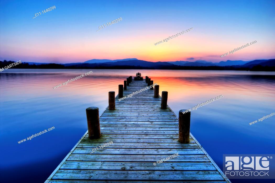 Stock Photo: Jetty on Lake Windermere, cumbria, lake district , england , uk,.