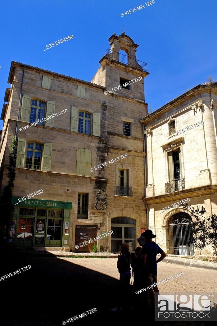 Stock Photo: The historic Maison des metiers d'art in the center of Pézenas, France.
