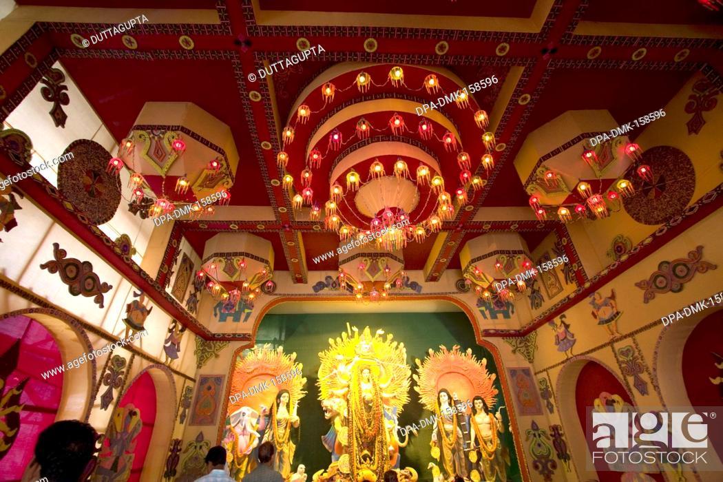 Decorated Mandap And Idols Of Goddess For Durga Puja Kolkata