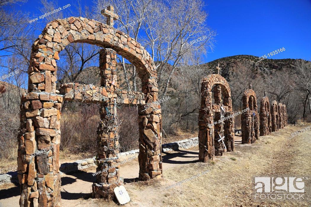 Stock Photo: The stone crosses decorated the way to of Santuario de Nuestro Senor de Esquipulas aka El Santuario de Chimayo. Village of Chimayo. New Mexico. USA.