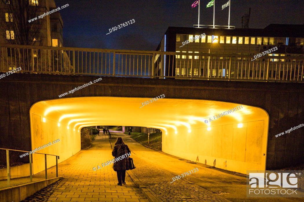 Stock Photo: Stockholm, Sweden A pedestrian tunnel in the Huvudsta suburb at night.