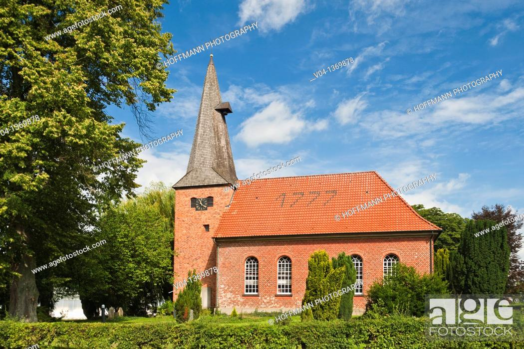 Stock Photo: The historic brick church of Staffhorst, Lower Saxony, Germany, Europe.