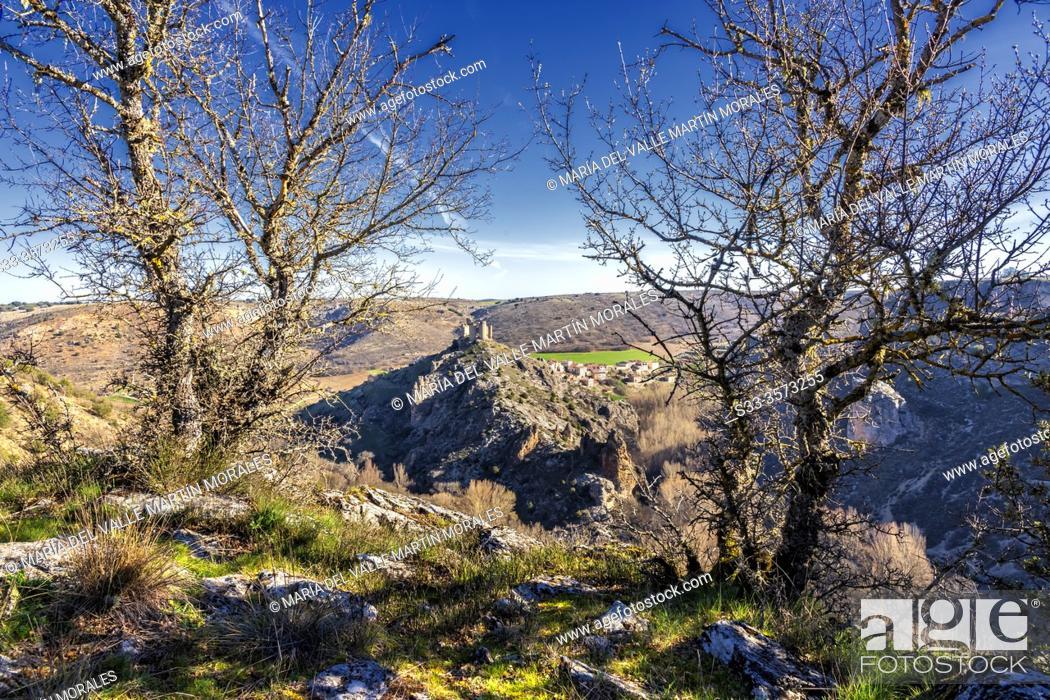 Stock Photo: Ruins of the castle and Pelegrina village fron The River Sweet Canyon. Guadalajara. Spain. Europe.