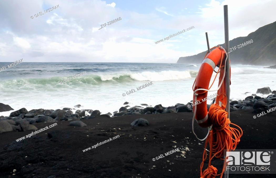 Stock Photo: Black sand beach on Faial island, Azores, Portugal.