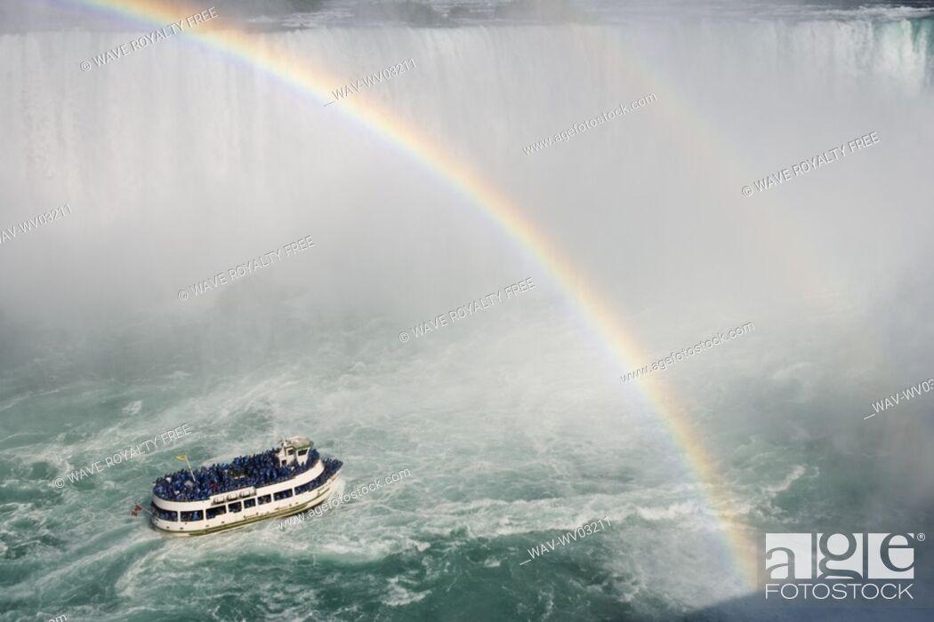 Stock Photo: Horseshoe Falls and The Maid of the Mist - Niagara Falls, Ontario, Canada.