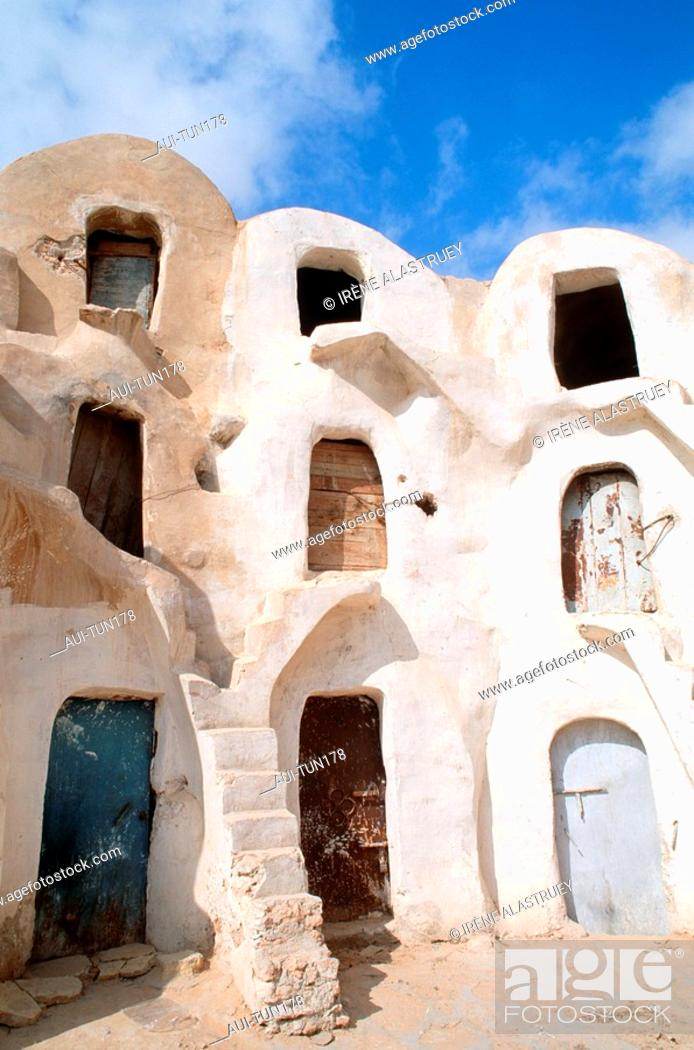 Stock Photo: Tunisia - The South - Jebel Dahar Region - Medenine - Ksar de Ghorfas.