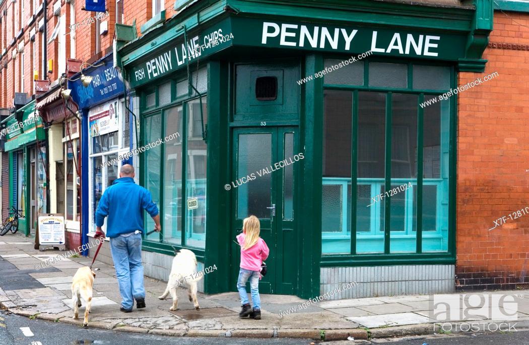 Stock Photo: Penny Lane  Liverpool  England  UK.