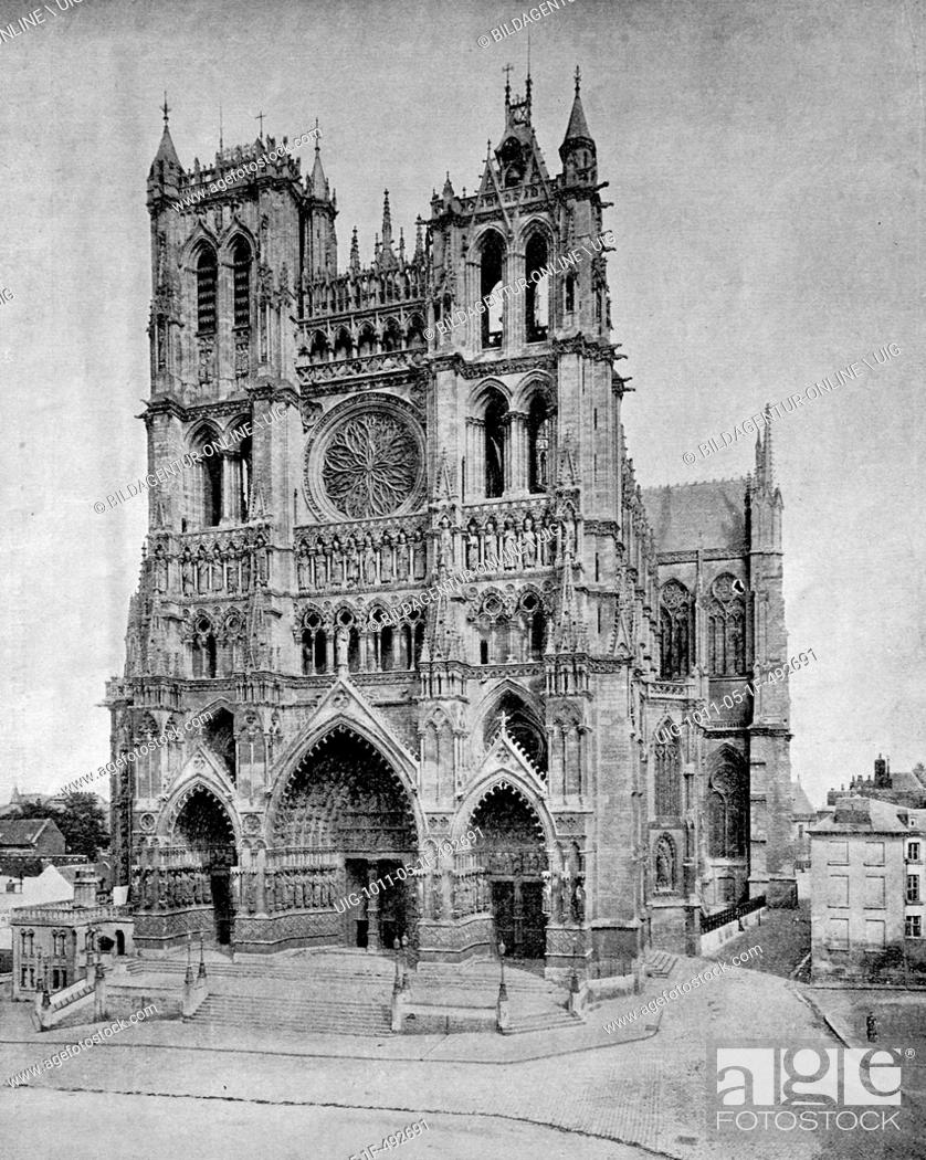Stock Photo: Early autotype of the cathedral of amiens, france, 1880.