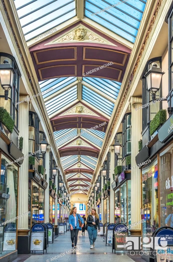 Stock Photo: The Arcade - retail shopping precinct in Broadmead, central Bristol, UK.