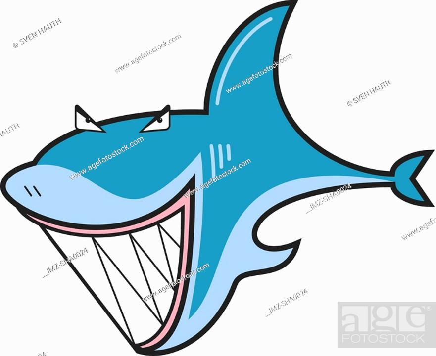 Stock Photo: A mean-looking shark with sharp, white teeth.