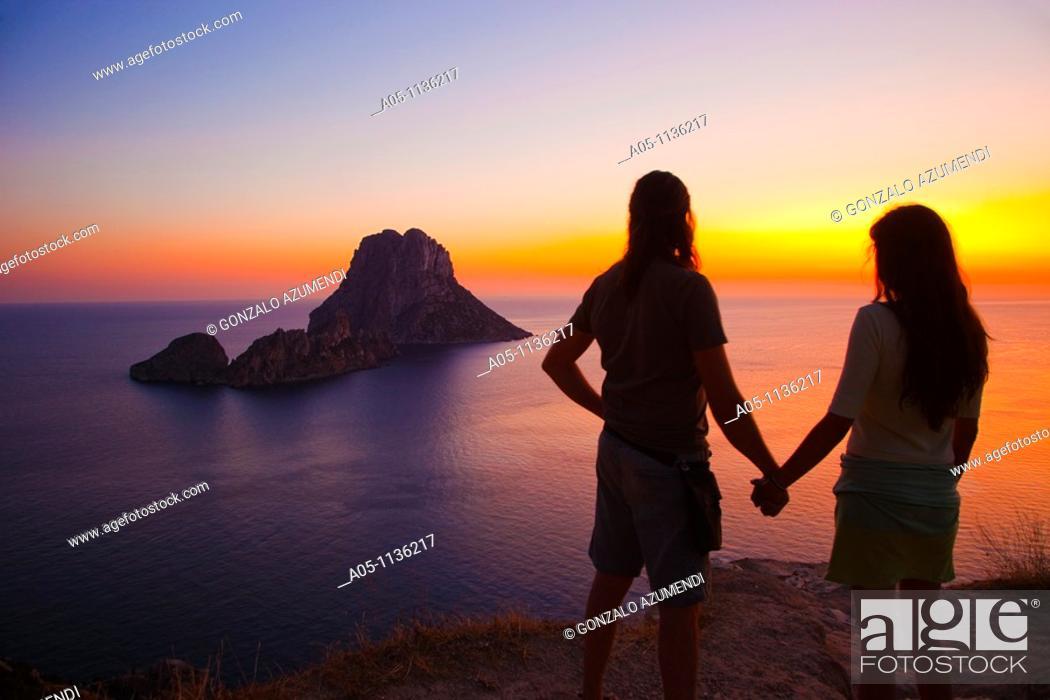 Stock Photo: Sunset in es Vedra. Sant Josep de sa Talaia. Ibiza. Balearic Islands. Spain.