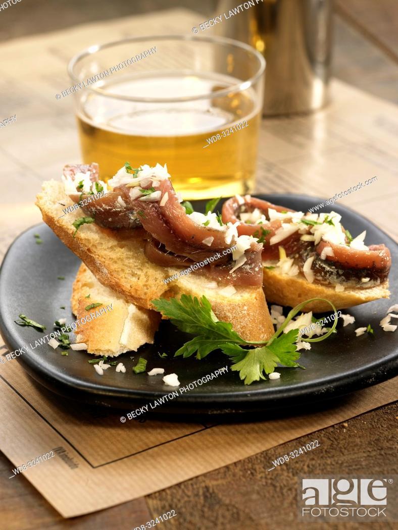 Stock Photo: montadito de anchoa a la vinagreta.
