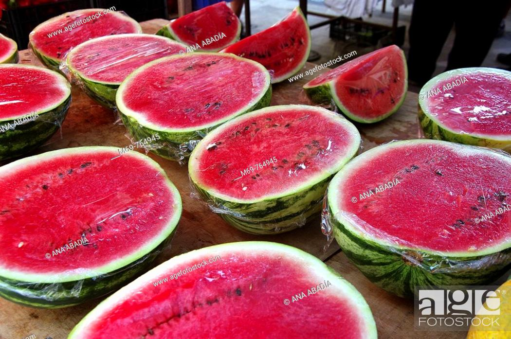 Stock Photo: Watermelons for sale at market, Santanyi. Majorca, Balearic Islands, Spain.