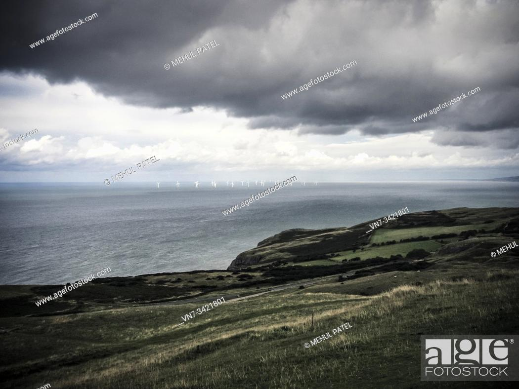 Stock Photo: Gwynt y Môr offshore wind farm located off the north coast of Wales in the Irish sea. It is one of the largest operating wind farms in the world.