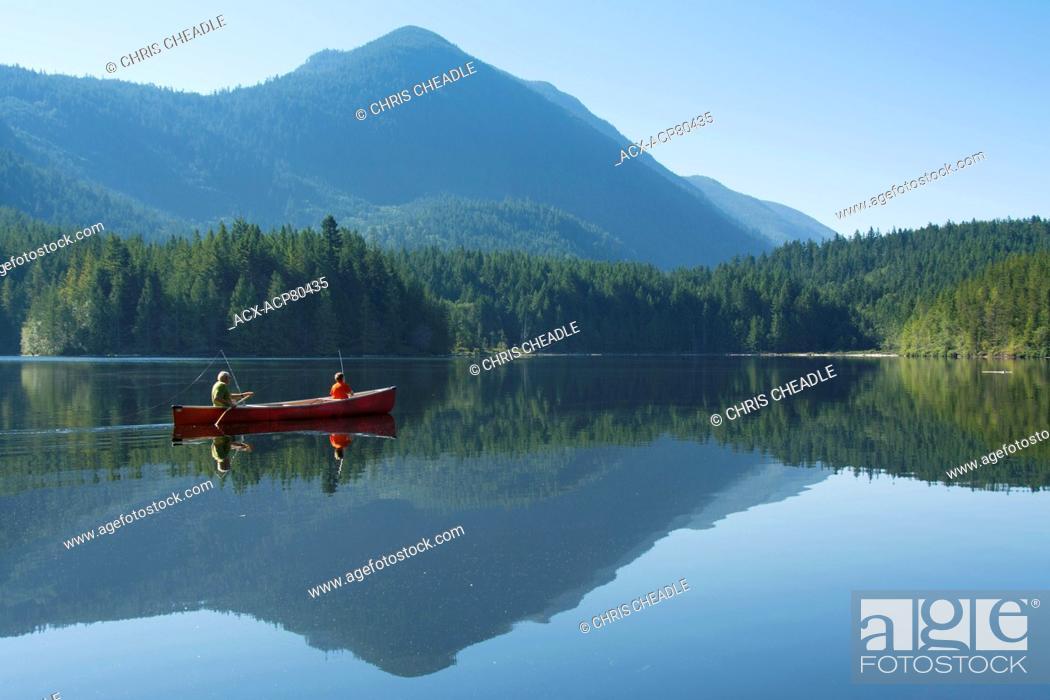 Stock Photo: Canoe fishing on Klein Lake near Egmont, , Sunshine Coast, British Columbia, CanadaBritish Columbia, Canada.