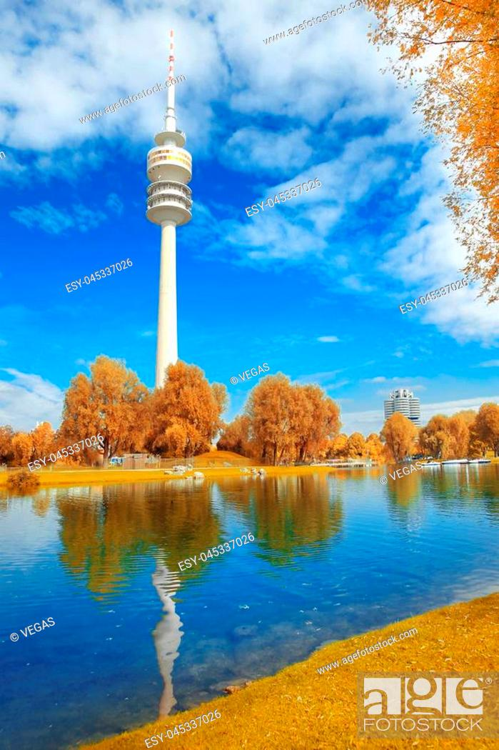 Stock Photo: View on Olympiapark with Olympic tower at Munich, Bavaria, Germany. Autumn park at city.