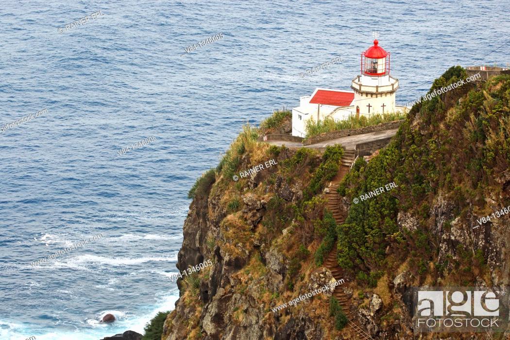 Stock Photo: Lighthouse Ponta do Arnel / Sao Miguel Island / Azores / Portugal.