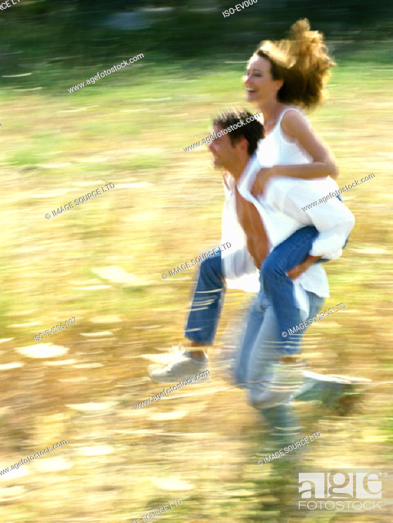 Stock Photo: Couple running.