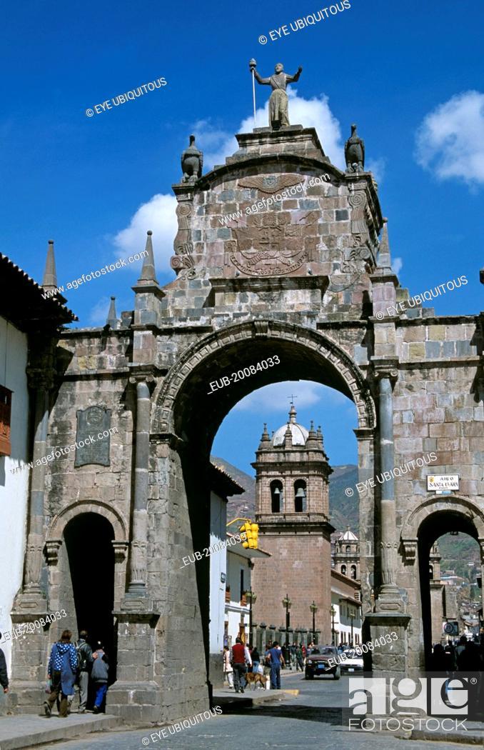 Stock Photo: Arco Santa Clara and Iglesia de Santa Clara, Calle Santa Clara.