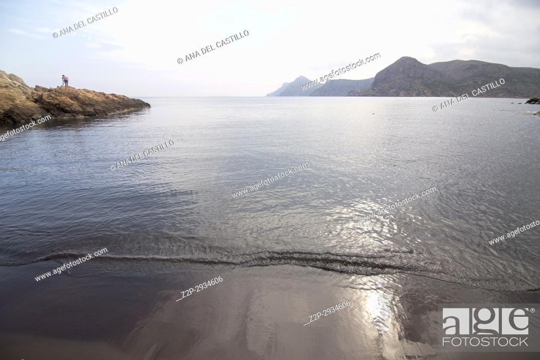 Stock Photo: Dark beach in Portman Cartagena Murcia Spain.