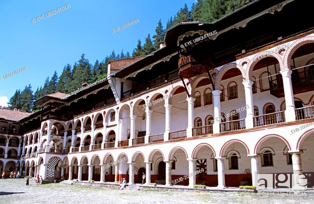 Stock Photo: Monastic cells, balconies and courtyard, Rila Monastery.