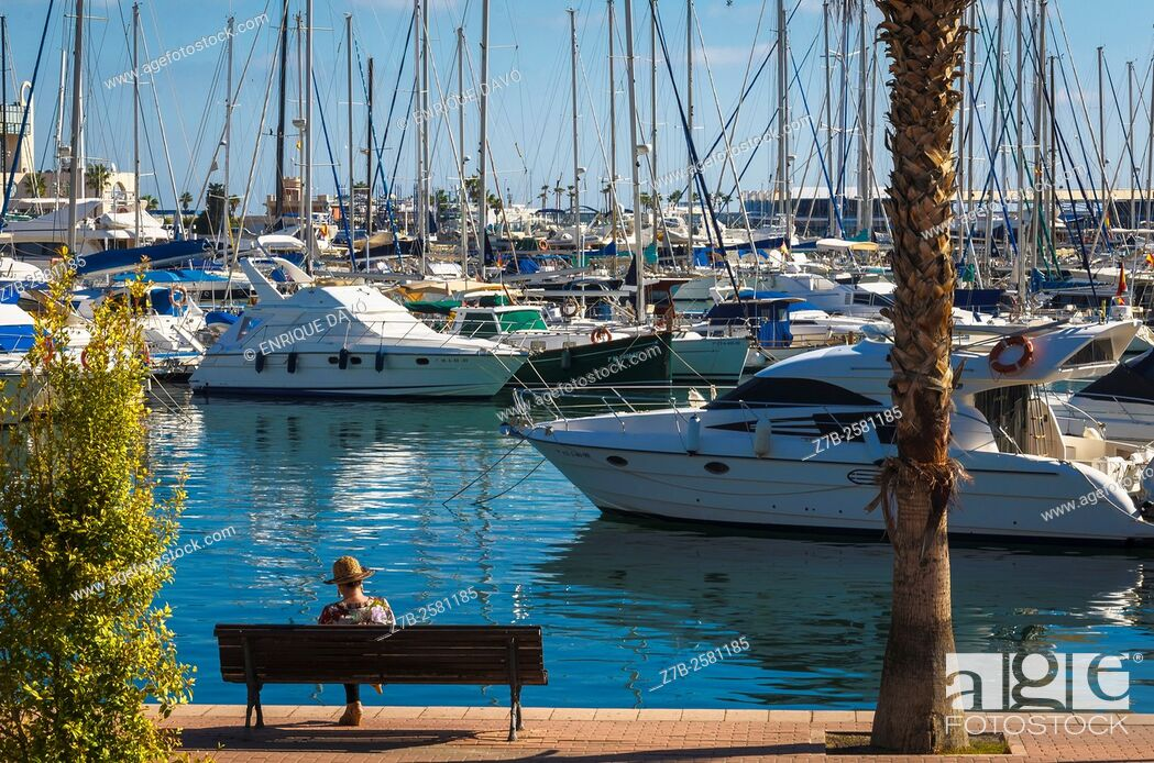 Stock Photo: A view of the Maritime port in Alicante city, Spain.