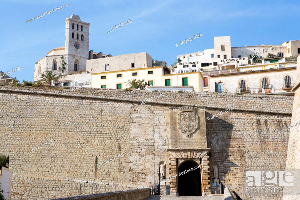 Stock Photo: Portal de ses Taules, Renaissance walls town gate with cathedral in background. Ibiza, Balearic Islands. Spain.