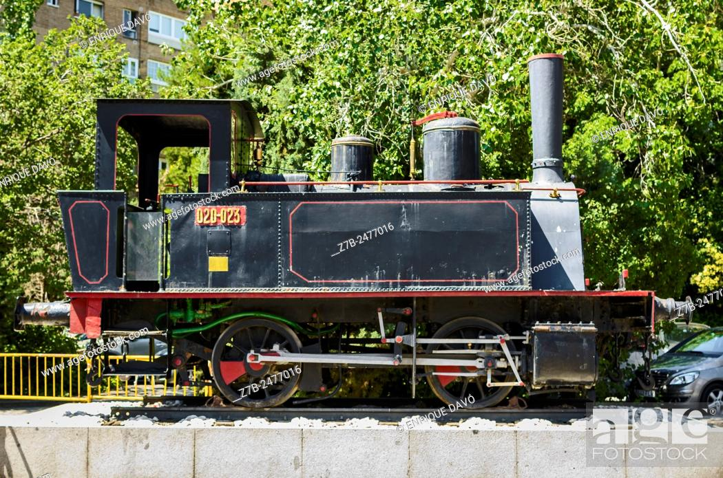 Stock Photo: An old train machine in the train museum, Madrid city, Spain.