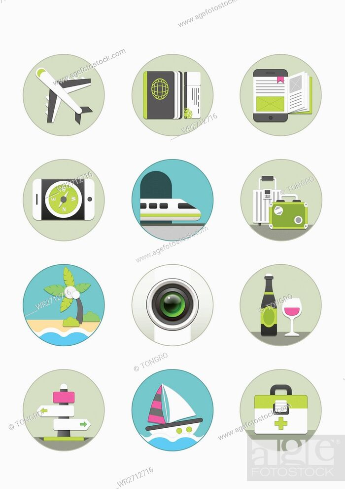 Stock Photo: Various icons related to overseas travel.