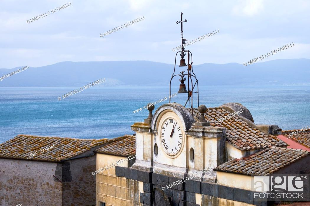 Stock Photo: view of Lake Bracciano with ancient clock and bells, Anguillara Sabazia, Lazio, Italy.
