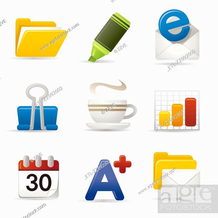 Stock Photo: Computer icon set.