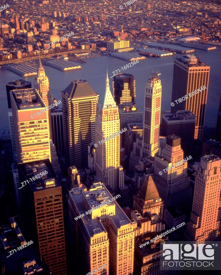 Stock Photo: U S A , New York, Financial District, aerial view.