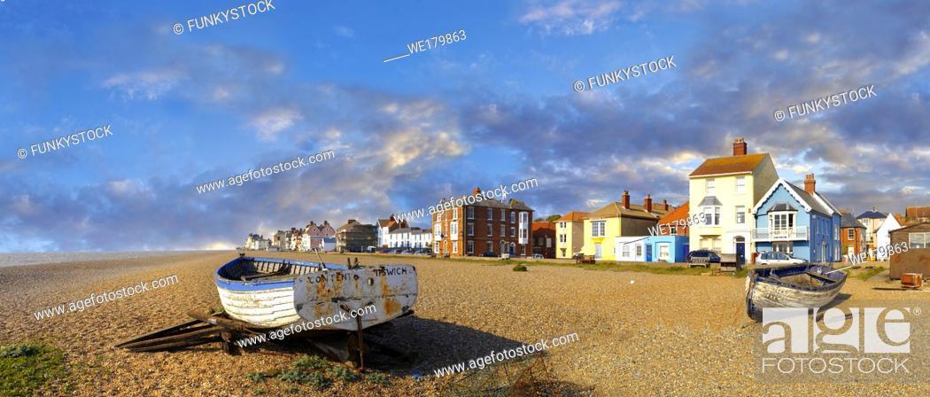 Stock Photo: Sea front houses and fushing baist on the shingle beach of Aldeburgh , Suffolk, England.