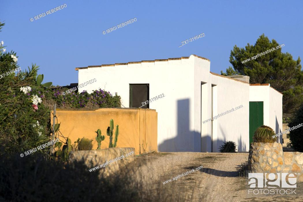 Stock Photo: Typical houses in Formentera Island. Mediterranean. Pityuses, Balearic Islands, Spain, Europe.