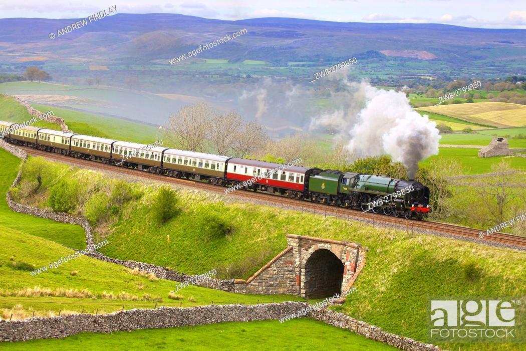 Stock Photo: Steam train Britannia on the embankment at Greengate. Kirkby Stephen, Settle to Carlisle Railway Line, Eden Valley, Cumbria, England, United Kingdom, Europe.