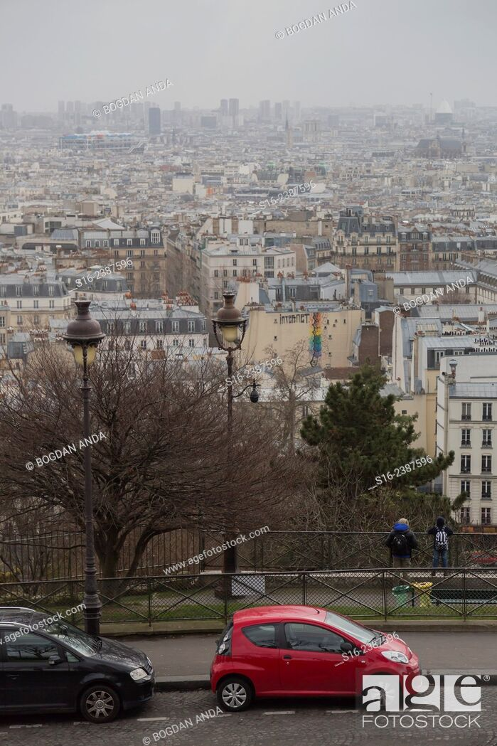 Stock Photo: Paris, France - city's rooftops seen from Sacre-Coeur Basilica Hill in Montmartre.