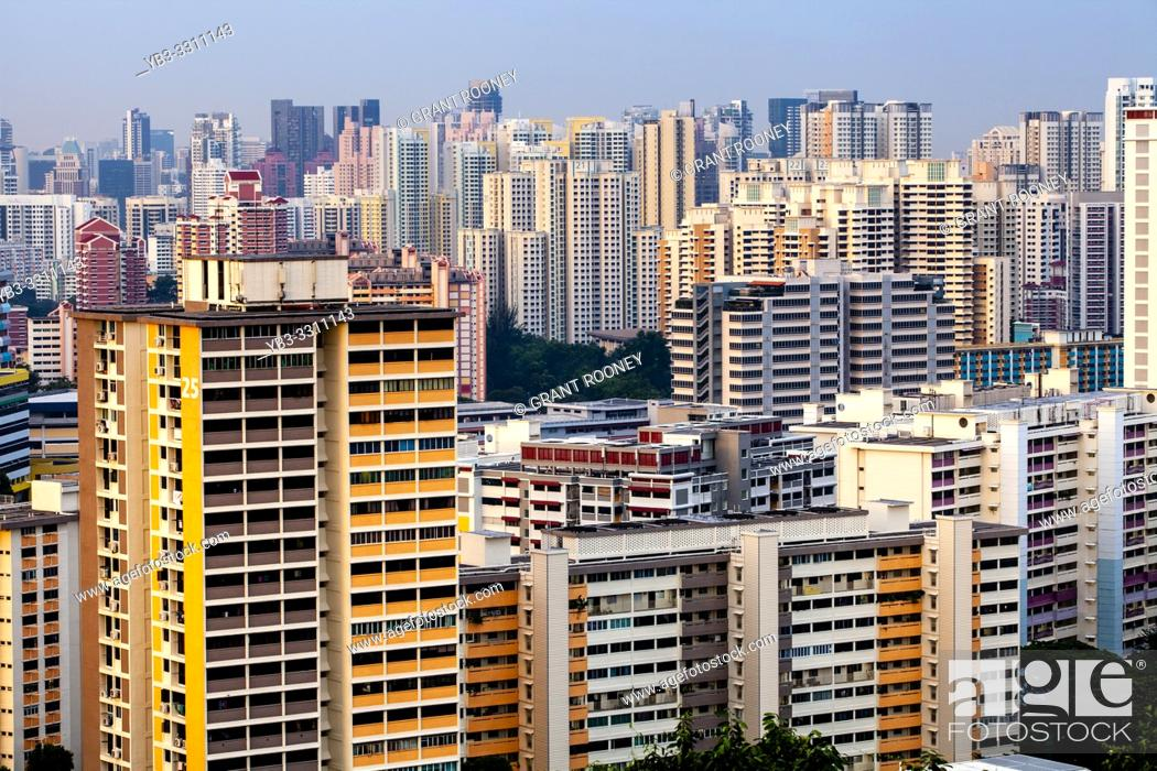 Stock Photo: Apartment Blocks and Singapore Skyline, Singapore, South East Asia.