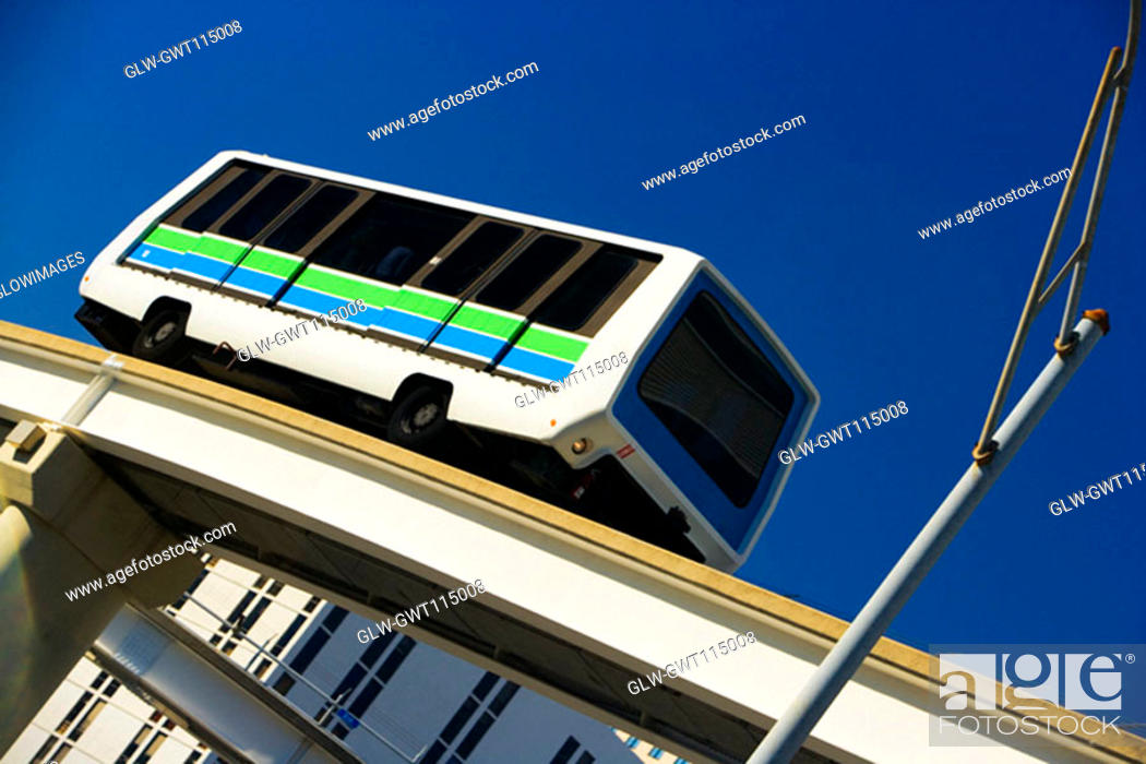 Stock Photo: Low angle view of a bus moving on an overpass, Miami, Florida, USA.