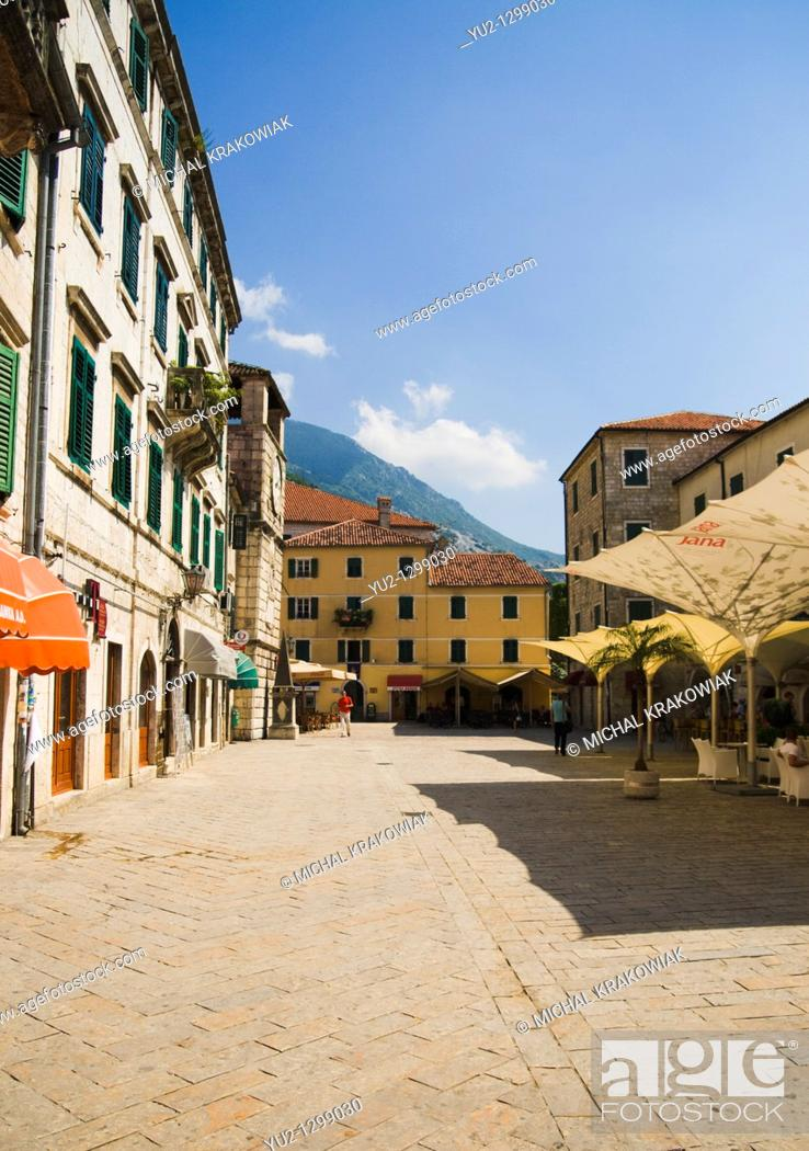 Stock Photo: Main square of Kotor in Montenegro.
