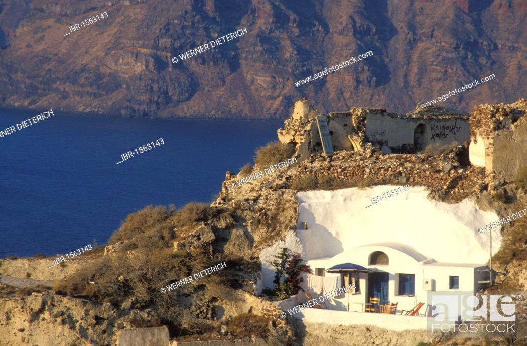 Stock Photo Cliff Dwelling In Oia Terrace Holiday Apartments Santorini Cyclades Greek Islands Greece Europe